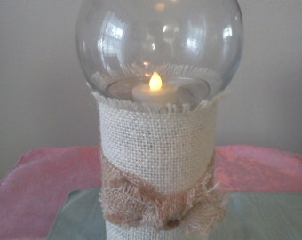 Hurricane lamp  White burlap glass votive candle holder