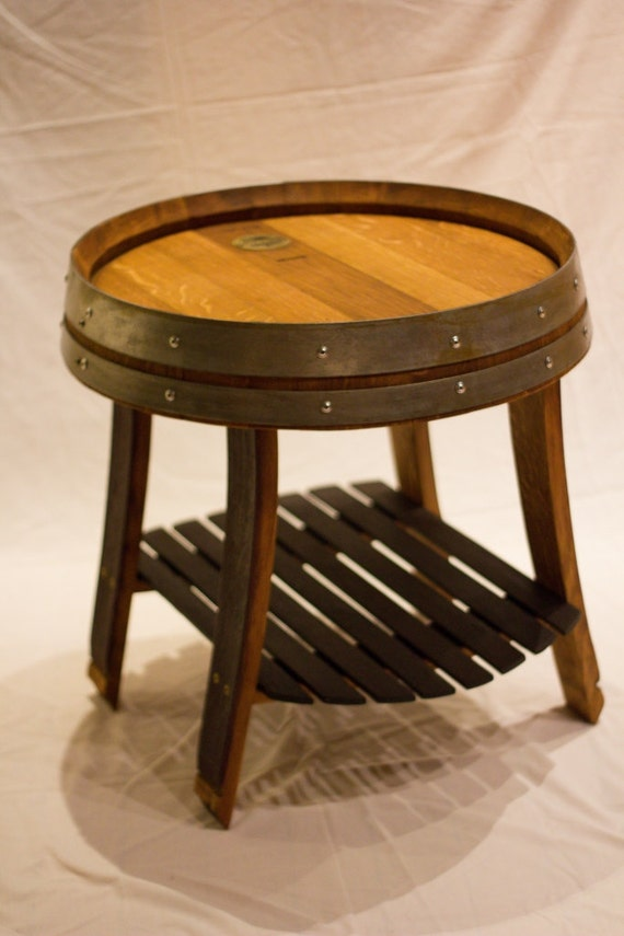 Wine Barrel End Table With Single Shelf By Therockinv On Etsy