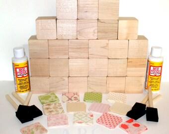 Alphabet Children's Wooden Baby Blocks - DIY - Baby Shower Craft - Baby Girl Decor - Shabby Chic - 2 Inch Hardwood Blocks