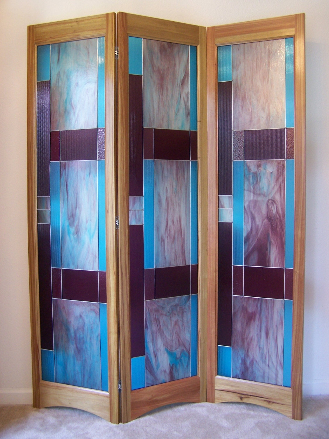 Stained glass room divider 3 panel screen bordeaux model by for Window dividers