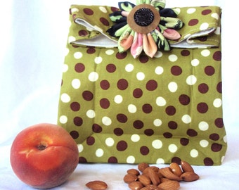 Handmade cotton lunch sack with flower pin or button closure