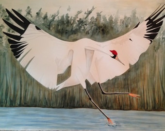 Watercolor Whooping Crane