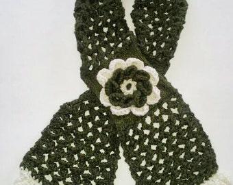 Eyelet Lace Medium Women's Scarf w/Big Flower