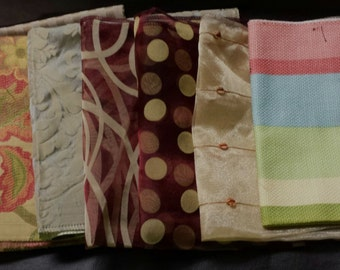 Set of Seven- 17in x 17in Upholstery fabric Squares- 21A