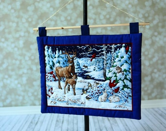 Christmas Quilt Wall Hanging ,   Christmas Deer Wall decor . Ready to ship.