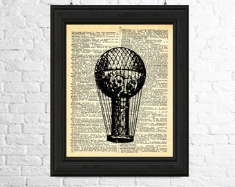 Hot Air Balloon Digital Image, Vintage Balloon Digital Image, Dictionary Page Art Instant Download - Hot Air Balloon Print, Printable Art