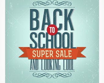 Retro Back to School Sale Vector