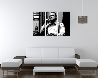 Marlon Brando - The Godfather Hand Painted Canvas Pop Art Oil Painting L FRAMED Gallery Wrapped Wall Art