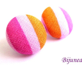 Pink Stripes earrings - Pink stripe stud earrings - Orange stripes posts - Stripes studs - Pink stripes post earrings sf382