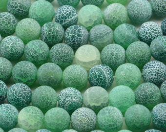 "15"" 10mm  Round Frosty Sea Glass Green Fire Agate"