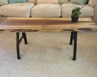 Reclaimed black walnut live edge slab coffee table with for Coffee table with cast iron legs