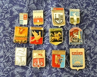 Coats of arms of Soviet cities- Heraldry Set pin badges - Vintage soviet pin badge -Vintage pin, Badge, from USSR-Russian vintage