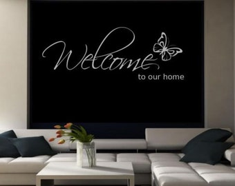Welcome To Our Home Wall Art Sticker Room Lounge Quote Decal Mural Stencil Transfer Wall Stickers WSD603