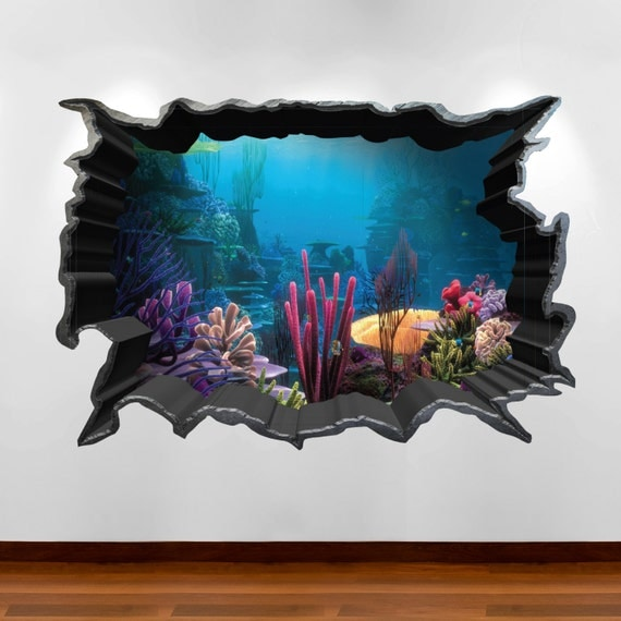 Finding nemo aquarium 3d wall art sticker decal boy girl for Bedroom 3d wall stickers