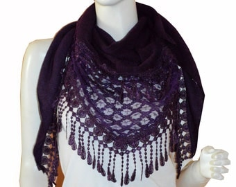 Purple Triangle Knit & Lace Fashion Scarf