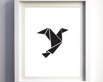 Black and White Origami Bird, Black White Art, Printable Bird Art, Minimalist Art, Geometric Bird Wall Art, Contemporary Wall Decor Triangle