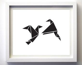 Black and White Origami Birds, Printable Love Birds, Minimalist Art, Black White Geometric Birds Contemporary Wall Decor Triangle Birds, DIY