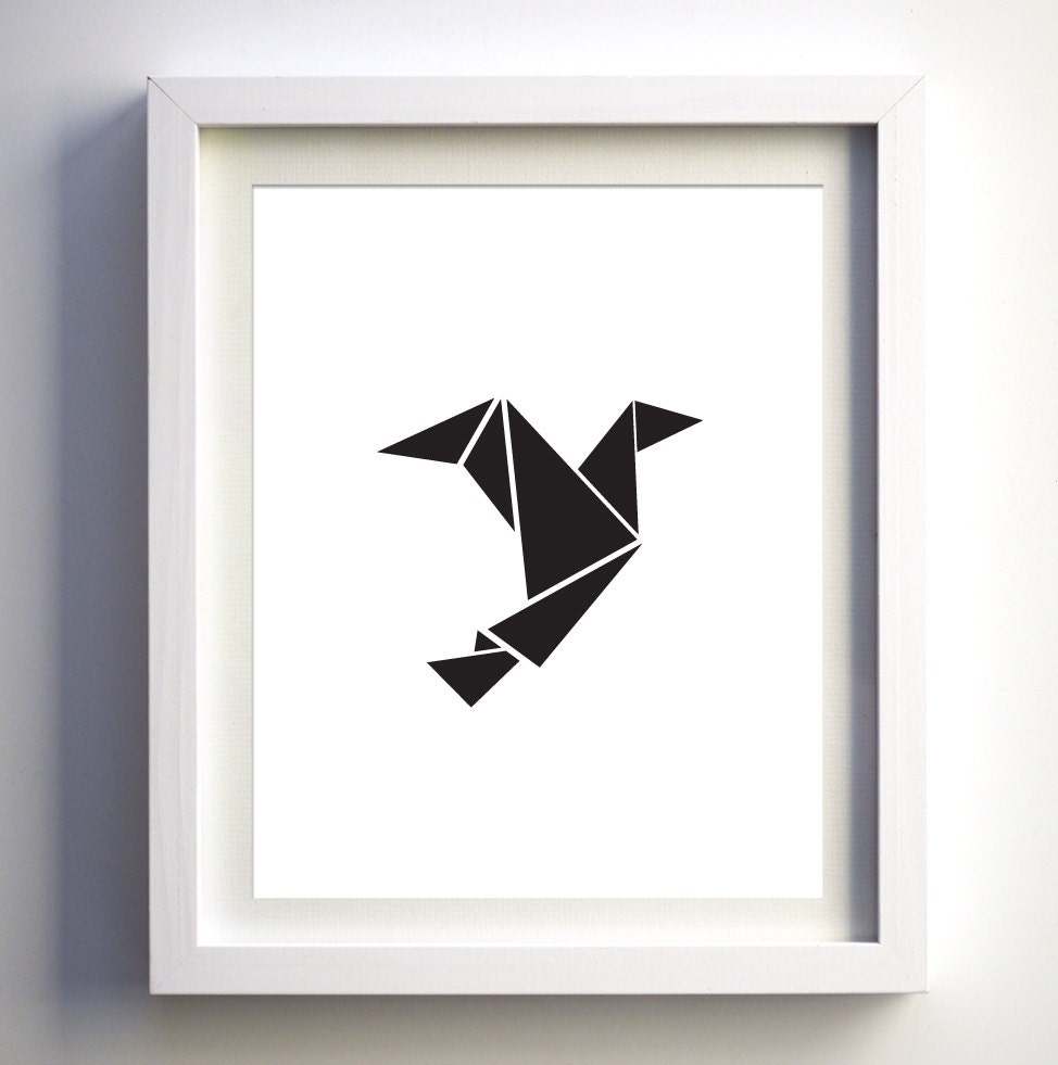Black and white origami bird black white art printable bird for Art minimaliste pdf