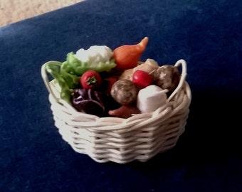Dolls House Food:  Miniature Food - A Basket of fresh Vegetables / Salad  See details below