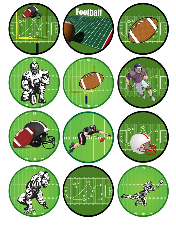 Printable Cupcake Toppers Football Topper Instant Download