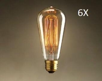 6 Pack -  60 Watt Edison Bulbs for Industrial Lighting - 60 Watt Bulbs (6 bulbs)