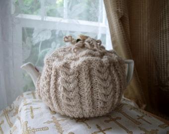 Aran knit tea cozy