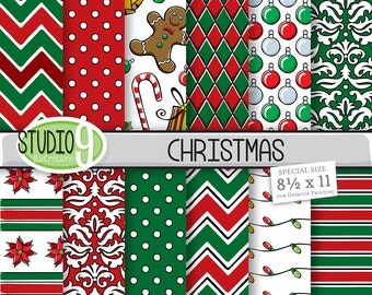 Christmas Digital Paper: RED & GREEN CHRISTMAS Pattern Prints, Christmas Download, Christmas Printable Christmas Patterns Holiday Scrapbook