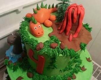 Handmade Edible Fondant  Dinosaur Cake Topper Set
