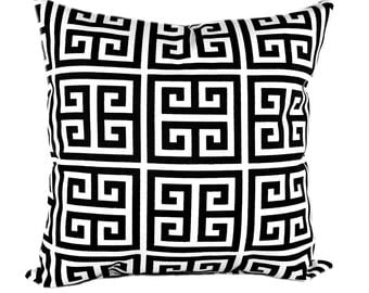Black Greek Key Decorative Pillows - Black Cream Pillow Cover - Towers Onyx Black Couch Pillow - Black Pillow - Geometric Pillow Cover