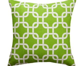 Green Throw Pillow Cover - Green and White Chain Link Decorative Pillow - Gotcha Chartreuse Pillow - Green Pillow Sham - Green Pillow Case