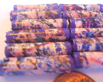 paper beads 12 pcs. tube beads hand painted pink purple blue black