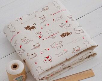 Kawaii cats world cotton linen fabric home decor fabric tablecloth fabric curtain fabric handmade fabric 1/2 yard