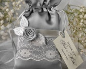 Custom listing (20) Lace Wedding Favor Bag ,Grey Wedding Bag, Lace Wedding Favour Bags, Vintage Wedding Thank You Bag,