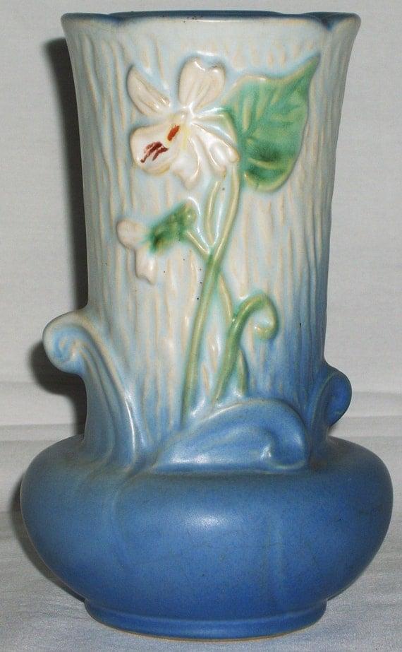 Weller R1 Vase Vintage Pottery Blue Flowers Floral Planter Art