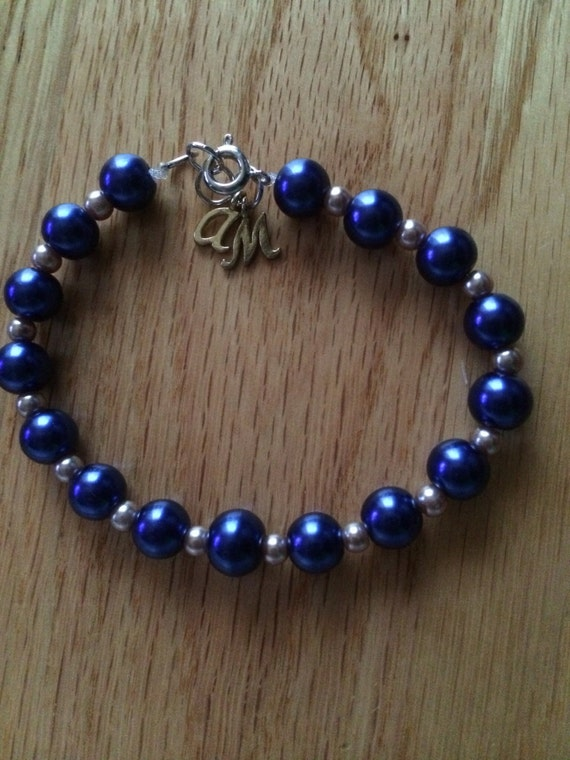 Blue and Taupe Pearl Bead Bracelet