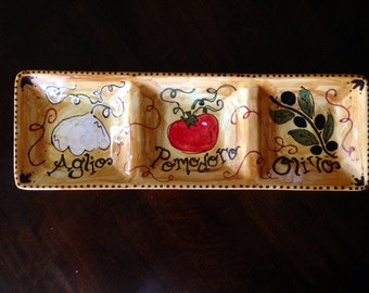 Hand Painted Pottery-Personalized Appetizer Serving Dish