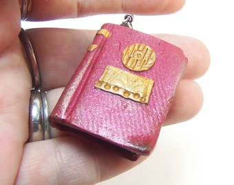Polymer Clay Red Vintage Book Pendant - Spell Book Charm - Key Chain charm