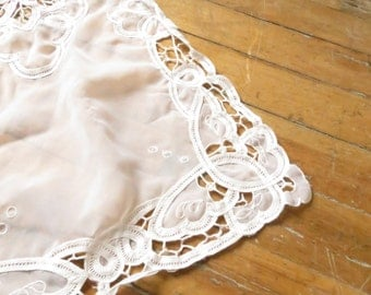 Cotton and Lace Sheer Pierced White Table Runner. Long White runner. Lace Table Runner.