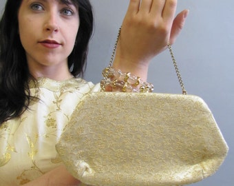 Floral Gold BROCADE, Vintage 1940's 1950's EVENING Clutch Bag, SHABBY Chic Purse