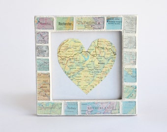 Wedding Gift for Couple Map Art Atlas Frame Customized Personalized