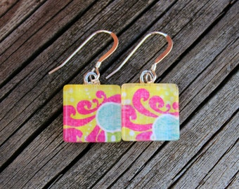 REDUCED Pink and Yellow Patterned Print Glass Tile Earrings