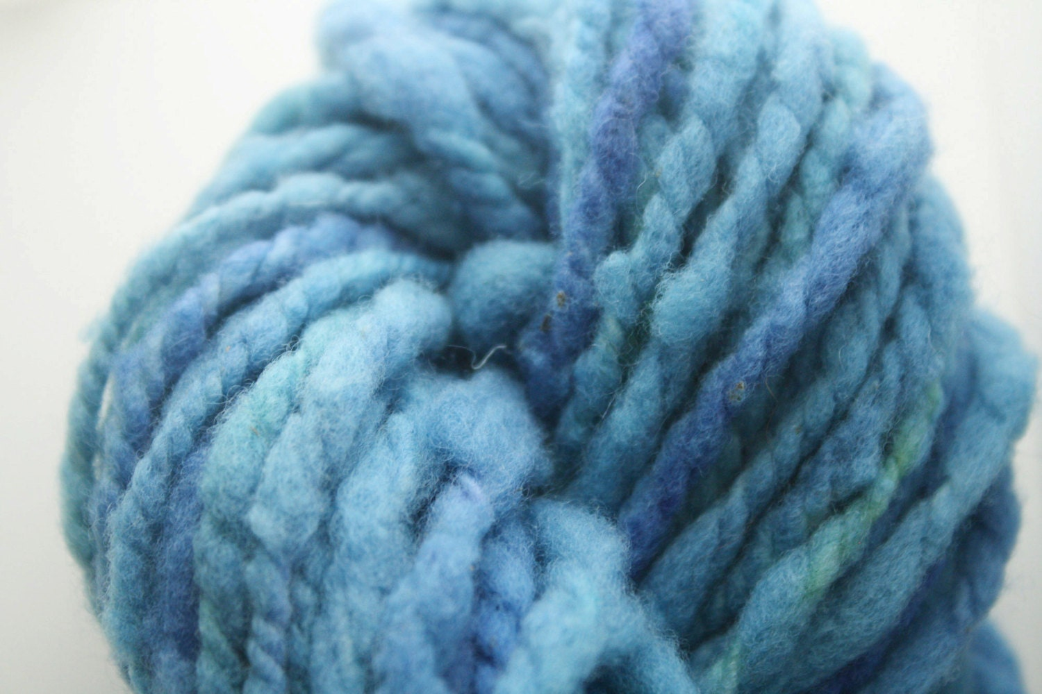 Handspun Merino wool yarn variegated blues by starandcrossbones