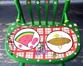 Picnic High Chair Hand Painted Spring Baby Shower Gift