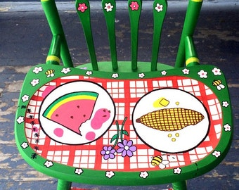 Picnic High Chair Hand Painted Spring Baby Shower Gift Day at the Park by Debbie Is Adopted