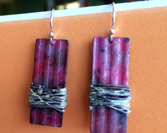 Natural Copper Rectangle with Sterling Wire Earrings