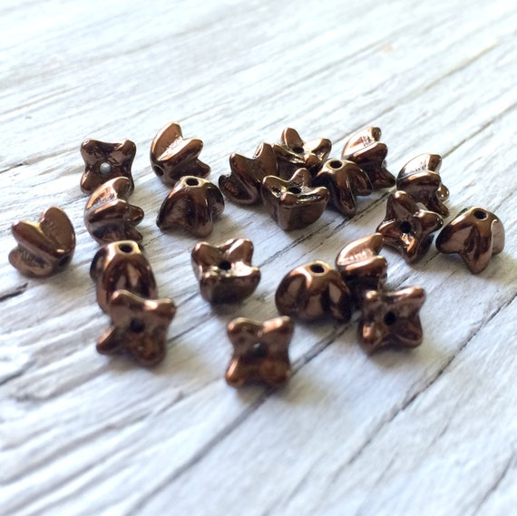 Czech glass beads - small flower cap beads dark bronze 20