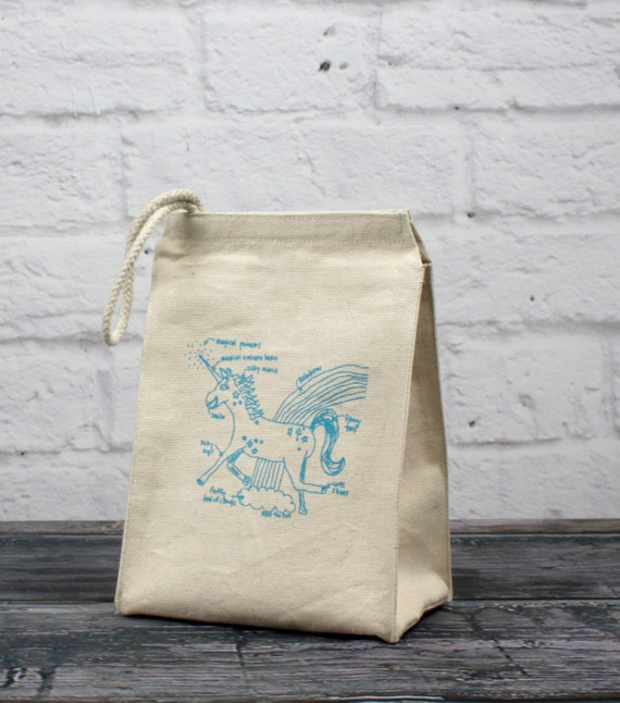 Unicorn diagram - eco-friendly recycled cotton lunch bag - reusable lunchbag - unicorn lunch sack