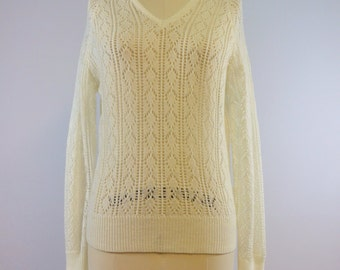 Ivory Knit V Neck Sweater | 1960s Vintage Jumper | Size Medium