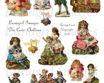VINTAGE CHILDREN Die Cuts digital collage sheet DOWNLOAD Victorian girls boys flowers sweet printable images for cards crafts altered art