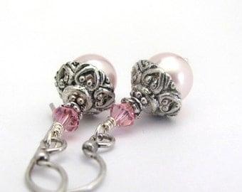 Swarovski Pearl Earrings, Pink Pearl Earrings, Pink Swarovski Crystal Pearls, Heart Design Bridal Earrings Bridesmaid Jewelry Wedding